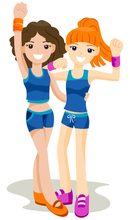 Workout Buddies with Clipping Path Stock Vector - 4246329