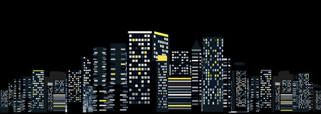 City Landscape Illustration against Black Background Vector