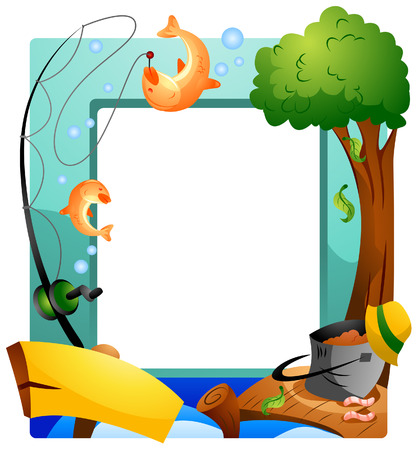 Fishing Frame with Clipping Path Vector