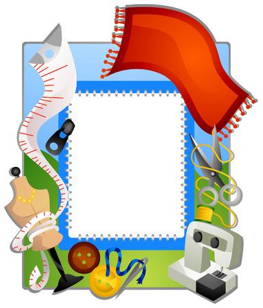coser: Recorte marco de coser con Sendero Vectores