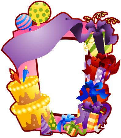 verjaardag frame: Lijst van de verjaardag met een uitknippad  Stock Illustratie
