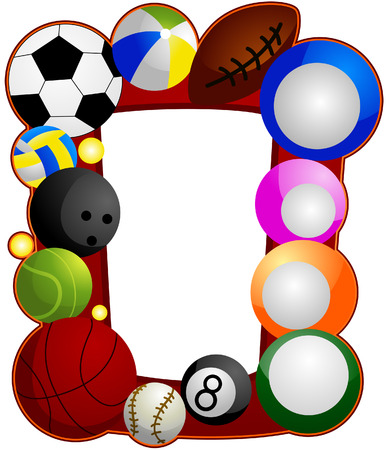 cartoon sport: Ball Sports Frame with Clipping Path Illustration
