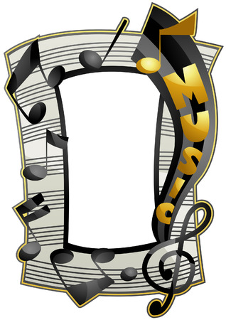 melody: Music Frame with Clipping Path Illustration