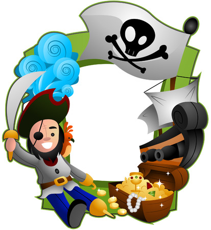 Pirate Frame with Clipping Path Vector