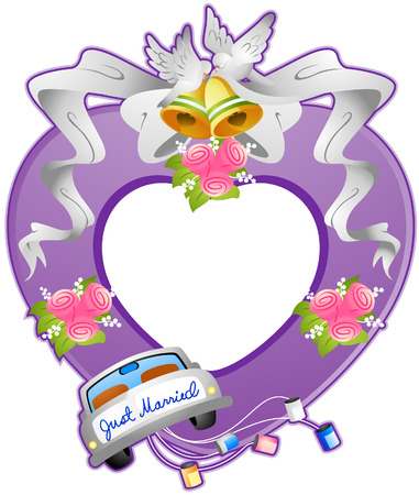 Wedding Frame with Clipping Path Vector
