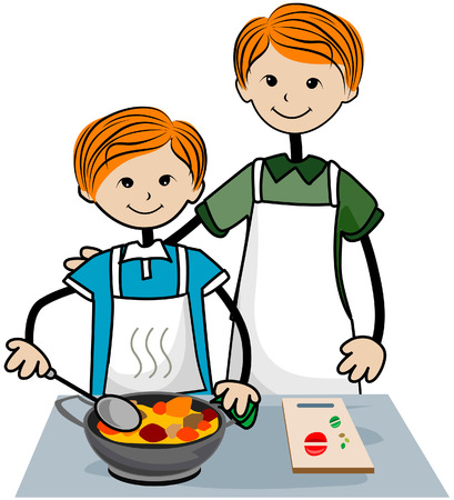 Child and Father Cooking with Clipping Path Vector