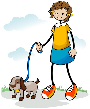 walking path: Child walking her Dog with Clipping Path Illustration