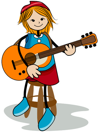 perform: Girl Playing the Guitar with Clipping Path