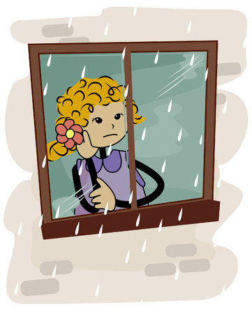 raining: Girl looking out the Window with Clipping Path Illustration