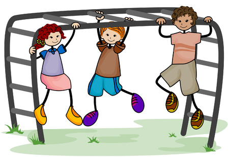 Kids at Monkey Bar with Clipping Path Vector