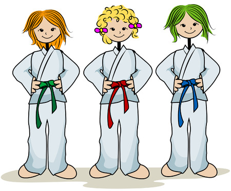 martial: Karate Kids with Clipping Path Illustration