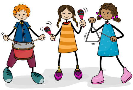 Kids playing Music with Clipping Path Vector