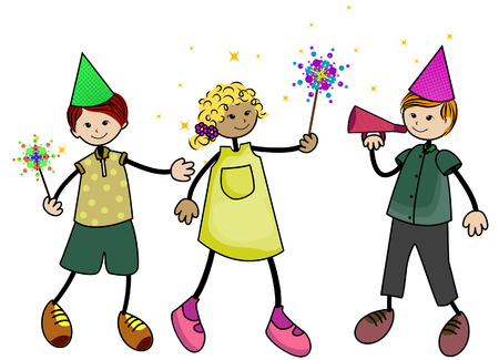 New Year Kids with Clipping Path Stock Vector - 4390033