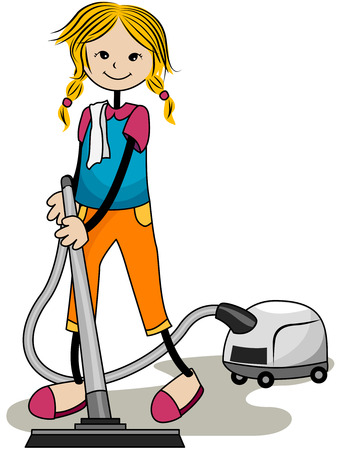 chore: Child Vacuuming with Clipping Path