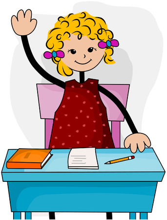 raise: Student at Desk with Clipping Path Illustration