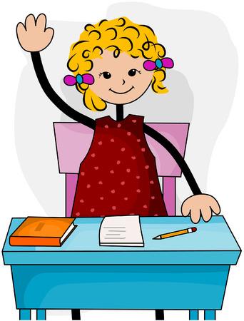 Student op desk met uitknippad