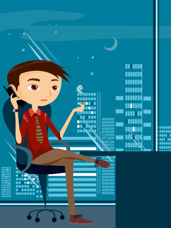 mobile communication: Businessman Illustration at the Office