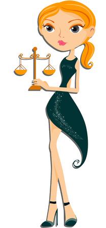 serie: Libra: Zodiac Girl Serie mit Beschneidungspfad Illustration