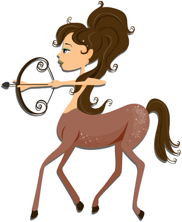 Sagittarius: Zodiac Girl Series with Clipping Path Illustration