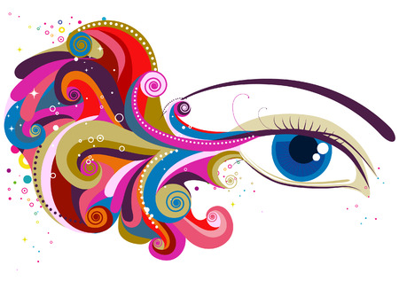 make up eyes: Wave Design on an Eye with Clipping Path Illustration