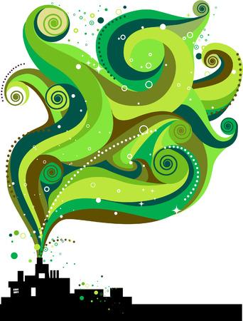industry background: F�brica de onda verde con ruta de recorte Vectores