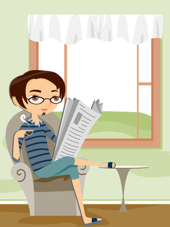 Man Reading Newspaper at Home Stock Vector - 4600209