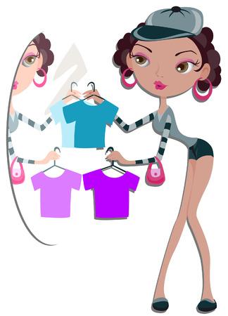 choosing: Girl choosing shirts with Clipping Path