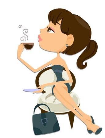 coffeebreak: Woman on Break with Clipping Path
