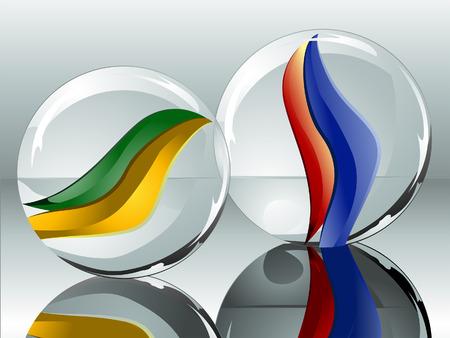 marbles: M�rmoles Ilustraci�n realista con Reflexi�n Vectores