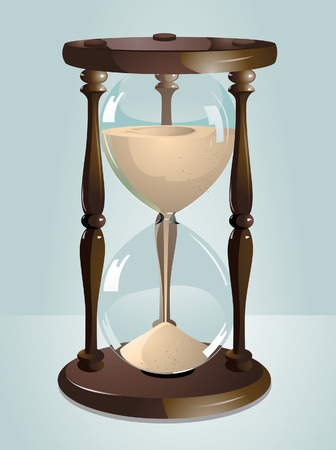 glasses in the sand: Hour Glass Illustration against Blue Background