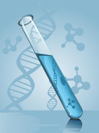 tubo de ensayo: Tubo de ensayo Ilustraci�n contra fondo azul