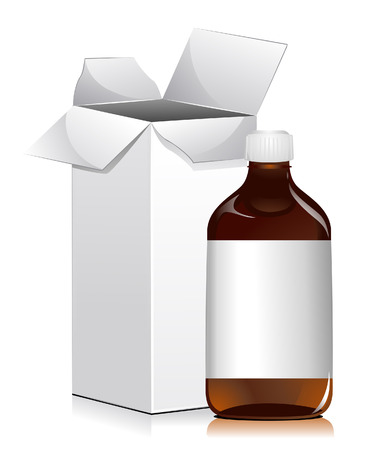 Medicine Bottle and Box with Clipping Path Illustration