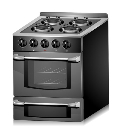 black appliances: Kitchen Oven with Clipping Path