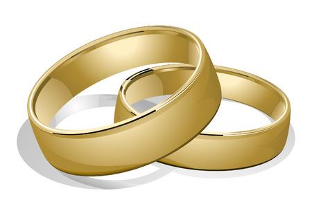 anillos de boda: Anillos de boda con Sendero Recorte Vectores