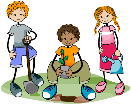 Gardening Kids with Clipping Path