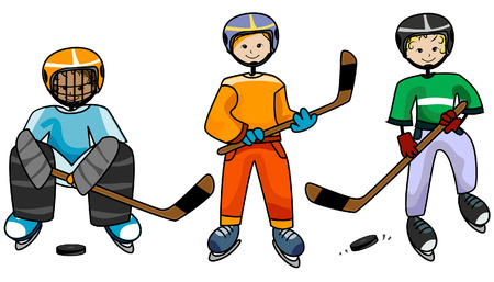 hockey su ghiaccio: Hockey su ghiaccio Junior con Clipping Path Vettoriali