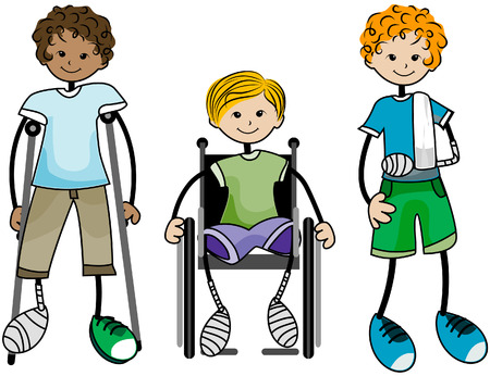 injure: Injured Kids with Clipping Path