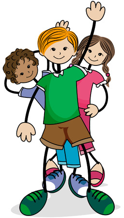 Kids in Line with Clipping Path Vector