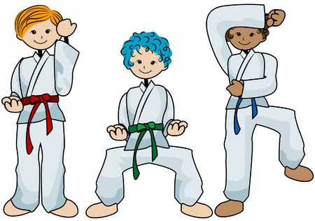 Karate Kids with Clipping Path Illustration