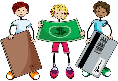 kid vector: Finanzas ni�os con limitaci�n Ruta Vectores