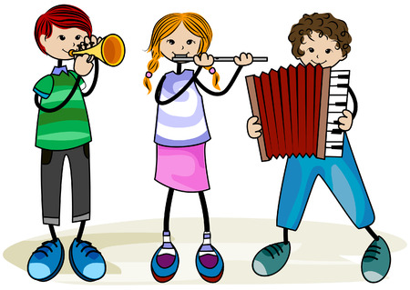 drawing instrument: Musical Kids with Clipping Path Illustration