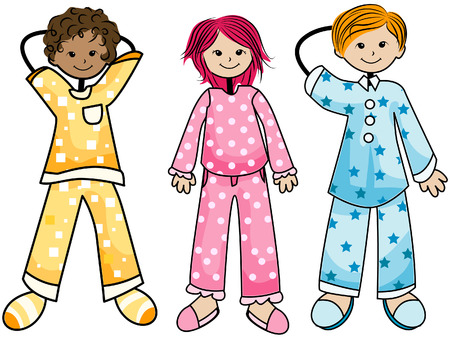 in pajama: Pajama Kids with Clipping Path