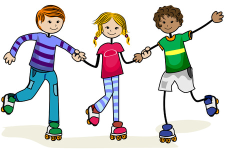 roller skates: Roller Skate Kids with Clipping Path Illustration