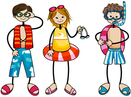 Swimming Kids with Clipping Path Vector