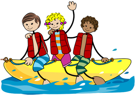 Summer Kids with Clipping Path Vector