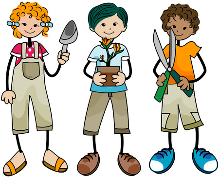 Gardening Kids with Clipping Path Vector