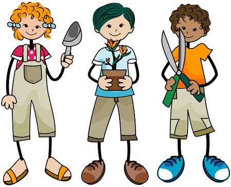 Tuinieren Kids met Clipping Path Vector Illustratie