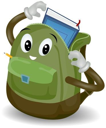 sac d ecole: �cole sac avec chemin de d�tourage Illustration