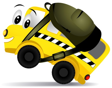 School Bus with Clipping Path Vector