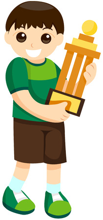 holds: Kid with a Trophy with Clipping Path Illustration